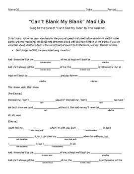 """Can't Blank My Blank"" Pop Songs 2015 Krazy Kloze: A Mad Lib in Disguise"