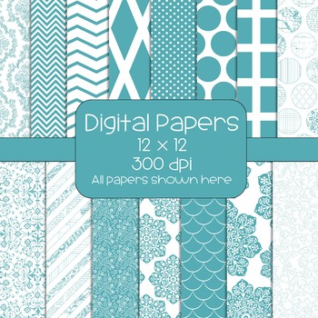'Can't Get Enough Teal'  Digital Papers - 15 Designs