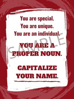 """Capitalize Your Name!"" - ELA Classroom Poster"