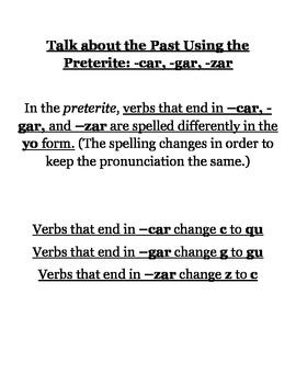 -Car -Gar -Zar Preterite Notes can go with En Espanol Level 2 Spanish