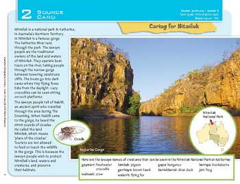 """""""Caring for Nitmiluk"""" Year 1 Card 2 Australian Geography Centre"""