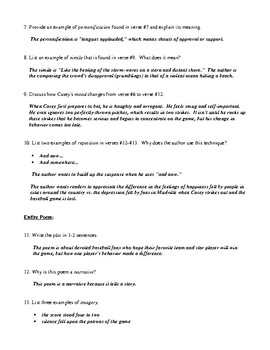 """Casey at the Bat"" Questions (Worksheet or Homework) and Detailed Answer Key"