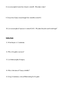 """""""Casey at the Bat"""" Questions (Worksheet or Homework) and Detailed Answer Key"""