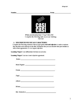 """""""Casí Casí"""" Film Packet - Packet of activities for Beginning Spanish Students"""