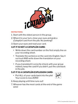 ¡Cataplún! game for Spanish classes - Editable game card template