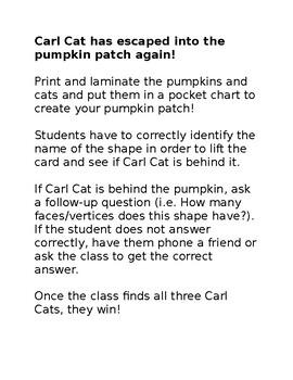 """""""Catch Carl Cat"""" 3D Shapes Activity"""