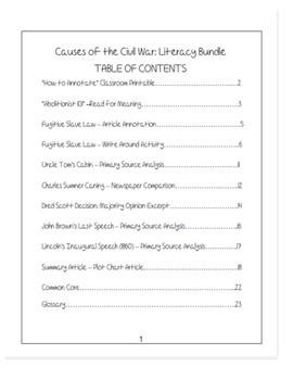 """Causes of the Civil War"" Literacy Bundle"