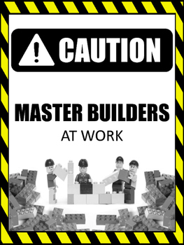 """""""Caution Master Builder At Work"""" Lego Themed Poster"""