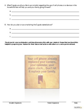"""Cell Phones and Relationships"" Student / Parent Questionnaire for Discussion"