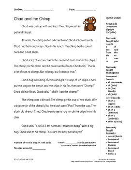 """Chad and the Chimp"": Orton Gillingham Level 1 Decodable S"