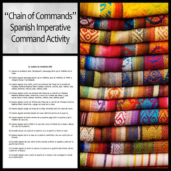 """""""Chain of Commands"""" Spanish Imperative Mood or Informal Commands Class Activity"""