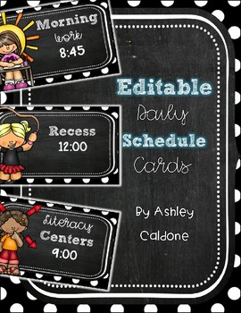 """""""Chalked"""" Full of Dots Editable Classroom Schedule Cards"""