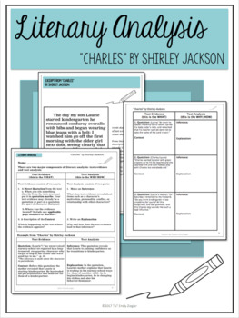 """Charles"" by Shirley Jackson Literary Analysis Graphic Organizers"