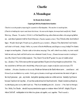 """Charlie"" A Monologue"