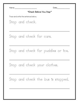 """""""Check Before You Step"""" Bus Safety Activity"""