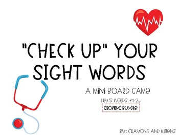 """Check up"" Sight Word Board Game"