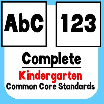 *Checklist* Kindergarten ELA & Math - Common Core State Standards CCSS