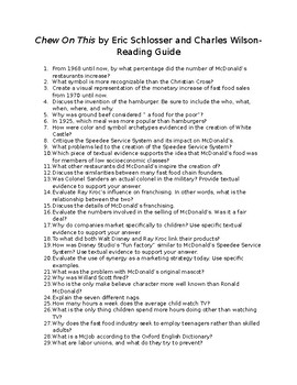 """Chew On This"" Reading Guide"
