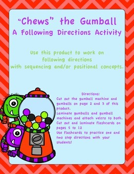 """Chews"" the Gumball- A Following Directions Activity"
