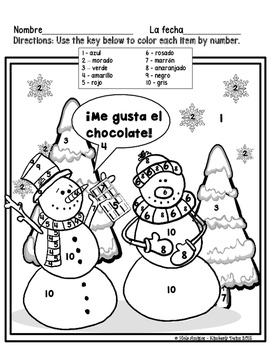 ¡Chocolate! - Spanish winter color by number activities (4 pages)