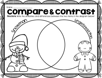 Christmas Compare Contrast Venn Diagram Worksheets Winter Bundle