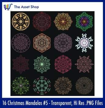 'Christmas Mandalas' Set #5 (Digital Clip Art)