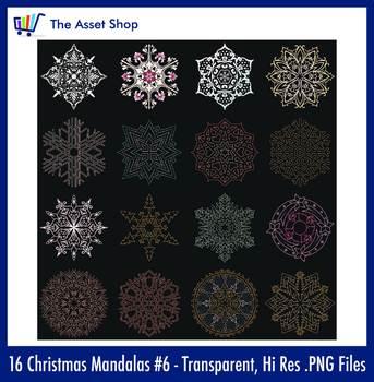 'Christmas Mandalas' Set #6 (Digital Clip Art)