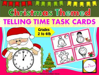 Christmas Themed Telling Time Task Cards