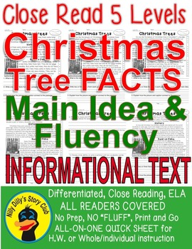 Christmas Trees CLOSE READING 5 LEVELED PASSAGES Main Idea Fluency TDQs & More