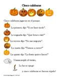 """""""Cinco calabazas"""" (Five Little Pumpkins) Spanish poem printable"""