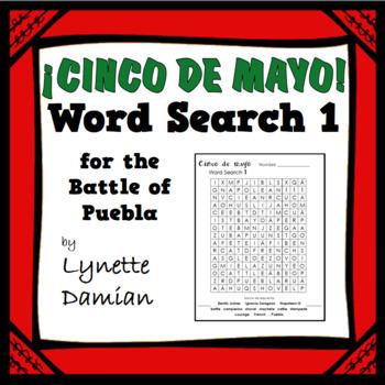 ¡Cinco de mayo! Word Search 1 for the Battle of Puebla