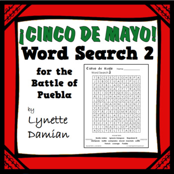 ¡Cinco de mayo! Word Search 2 for the Battle of Puebla