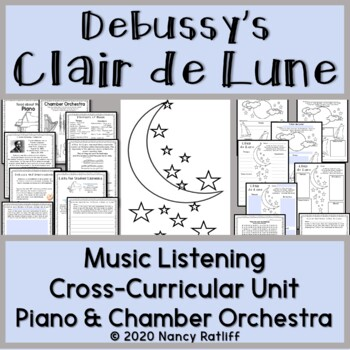 """Clair de lune"" Music Listening and Mood Activity Worksheet Elementary Music"