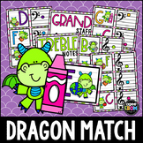 """""""Classroom Dragons"""" Music Notes Matching Flashcard Fun!  Treble and Bass Clefs"""