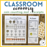 "{Classroom Economy} ""Receipts"" and Coin Counting Mat for Classroom Store"