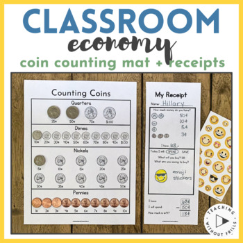 """{Classroom Economy} """"Receipts"""" and Coin Counting Mat for C"""