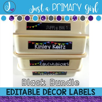 ~*Classroom Labels  - BLACK & {Editable} THE BUNDLE