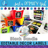 ~*Classroom Labels  - BLACK & {Editable} THE BUNDLE