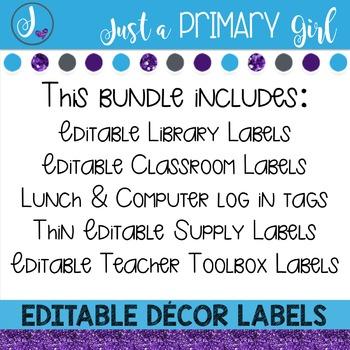 ~*Classroom Labels  - WHITE & {Editable} THE BUNDLE