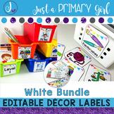 Classroom Labels  - WHITE Editable THE BUNDLE
