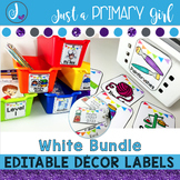 ~*Classroom Labels  - WHITE & {Editable} THE BUNDLE