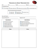 """""""Classrooms at a Glance"""" Informal Classroom Observation Form"""
