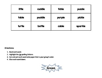 -Cle Syllable Word Sort