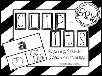 """""""Clip Its"""" Letter to Picture (Black and White Version)"""