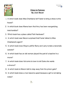 """""""Close to Famous"""" By Joan Bauer, Battle of the Books Questions"""
