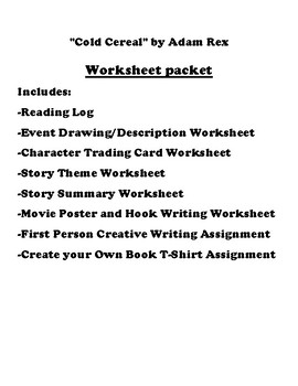 """""""Cold Cereal"""" by Adam Rex Worksheet Packet"""