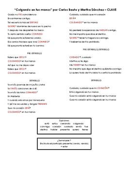"""""""Colgando en tus manos"""" por Carlos Baute y Marta Sanchez - Cloze Activity"""