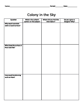 "'Colony in the Sky"" Read-Along Chart"
