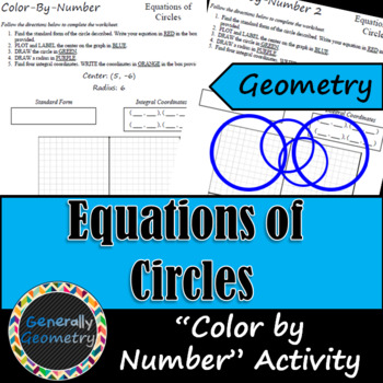 """Equations of Circles """"Color-By-Number""""; Geometry"""