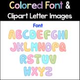 Color Font | Bulletin Board ABC Clipart | Stitched Bubble